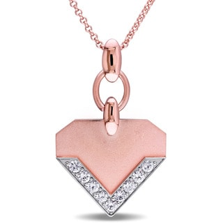 V1969 ITALIA White Sapphire Insignia Necklace in 18k Rose Gold Plated Sterling Silver