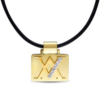 V1969 Italia Men'S White Sapphire Black Leather Necklace In Yellow Gold Plated Sterling Silver