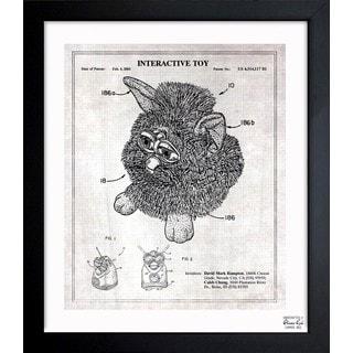 Oliver Gal 'Furby 2003 - Grey' Framed Blueprint Art