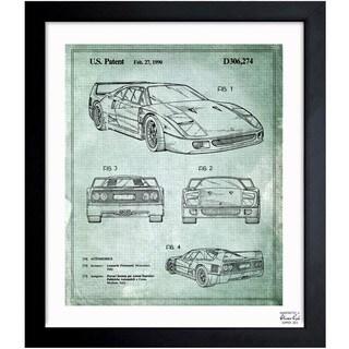 Oliver Gal 'Ferrari F40 1990' Framed Blueprint Art