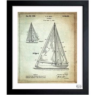 Oliver Gal 'Sailboat 1938' Framed Blueprint Art