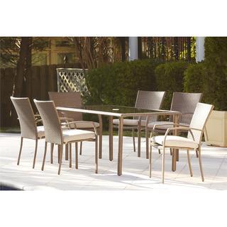 Cosco Outdoor 7-piece Steel Woven Wicker Patio Dining Set
