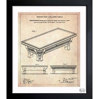 'Design for a Billiard-Table 1895' Framed Blueprint Art