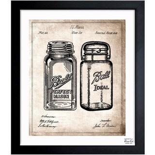 'Mason Jar 1853' Framed Blueprint Art