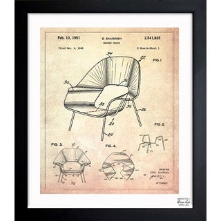 Oliver Gal 'Shaped chair 1948' Framed Blueprint Art - Brown