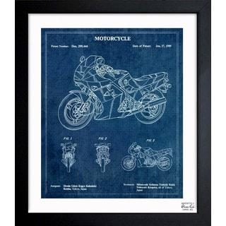 Oliver Gal 'Motorcycle 1989' Framed Blueprint Art
