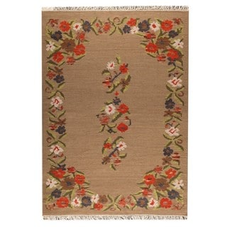 M.A.Trading Indian Hand-woven Karba1 Beige Rug (6'6 x 9'9)