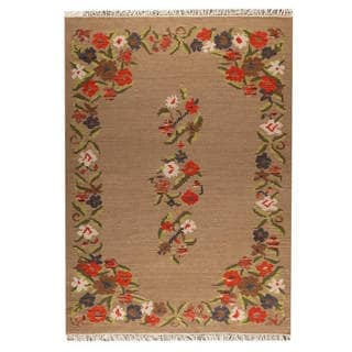 M.A.Trading Indian Hand-woven Karba1 Beige Rug (5'6 x 7'10)