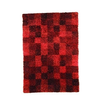 M.A.Trading Indian Hand-woven Bricks Wine Rug (4'6 x 6'6)