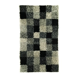 Indian Hand-woven Bricks Grey Rug (4'6 x 6'6)