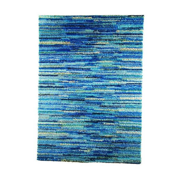 M.A.Trading Indian Hand-woven Mat Mix Blue Rug (4'6 x 6'6)