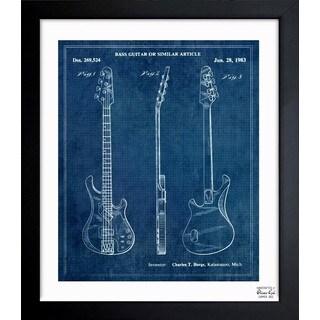 Oliver Gal 'Bass Guitar or Similar Article 1983' Framed Blueprint Art