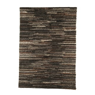 M.A.Trading Indian Hand-woven Mat Mix Charcoal Rug (4'6 x 6'6)