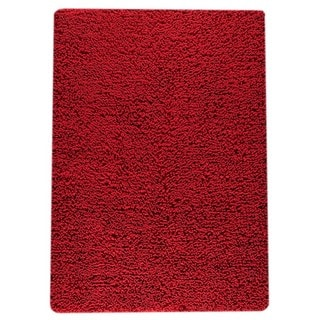 Indian Hand-woven Square Red Rug (6'6 x 9'9)