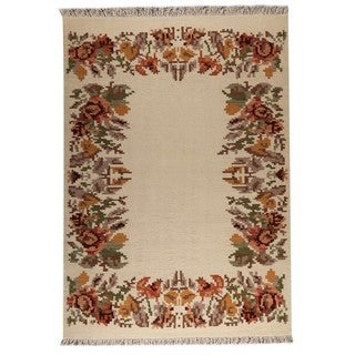 Indian Hand-woven Karba2 Cream Rug (5'6 x 7'10)