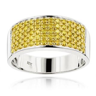 Luxurman Designer 10k Gold Men's 1 3/4ct TDW Yellow Diamond Wedding Ring