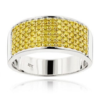 Luxurman Designer 10k Gold Men's 1 3/4ct TDW Yellow Diamond Wedding Ring