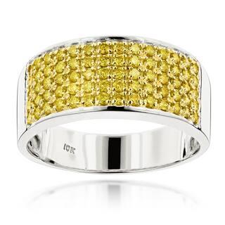 luxurman designer 10k gold mens 1 34ct tdw yellow diamond wedding ring - Yellow Diamond Wedding Ring