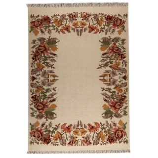 M.A.Trading Indian Hand-woven Karba2 Cream Rug (6'6 x 9'9)