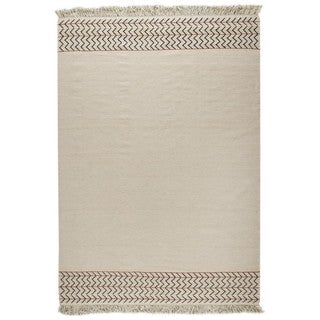 M.A.Trading Indian Hand-woven Valparaiso White Rug (8'3 x 11'6)