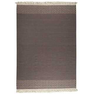 M.A.Trading Indian Hand-woven Valparaiso Brown Rug (8'3 x 11'6)