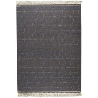 M.A.Trading Indian Hand-woven Bergen Grey Rug (4'6 x 6'6)