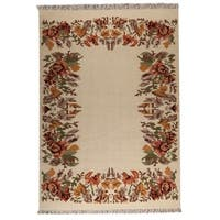 M.A.Trading Indian Hand-woven Karba2 Cream Rug (8'3 x 11'6)