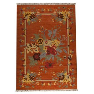 M.A.Trading Indian Hand-woven Karba4 Rust/ Orange Rug (8'3 x 11'6)