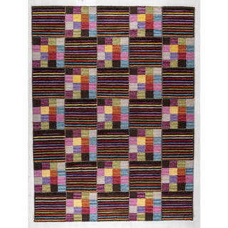 M.A.Trading Indian Hand-woven Khema4 Brown/ Multicolored Rug (8'3 x 11'6)