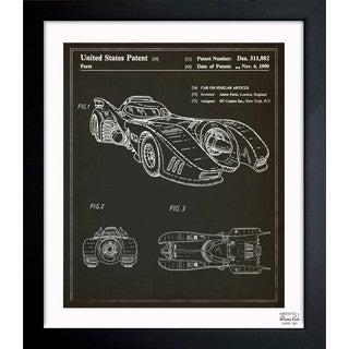 Oliver Gal 'Batmobile 1990' Framed Blueprint Art