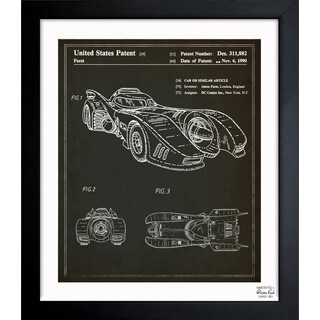 Oliver Gal 'Batmobile 1990' Framed Blueprint Art