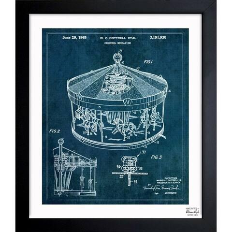 Oliver Gal 'Carousel Mechanism 1965' Framed Blueprint Art