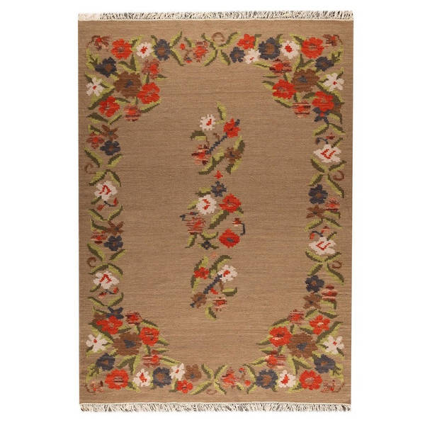 Handmade M.A.Trading Indian Karba1 Beige Rug (8'3 x 11'6) (India)