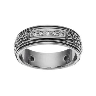 Sterling Silver 1/10ct TDW Diamond Men's Textured Band Ring (Size 10)