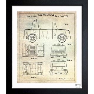 Oliver Gal 'Toy Police Car 1982' Framed Blueprint Art
