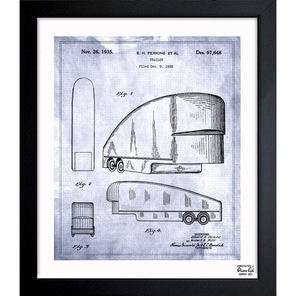 Oliver Gal 'Trailer 1935' Framed Blueprint Art - Grey