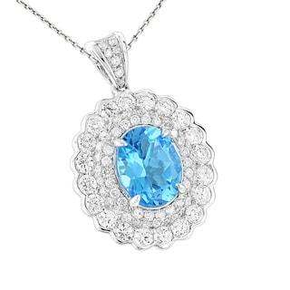 Luxurman Designer 14k Gold 1 7/8ct TDW Diamond Blue Topaz Pendant (G-H, SI1-SI2)