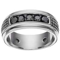 JewelMore Men's Sterling Silver 1/4ct TDW Black Diamond Textured Band Ring (Size 10)