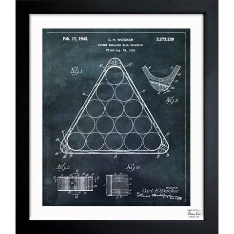 Oliver Gal 'Pocket Billiard Ball Triangle 1942' Framed Blueprint Art