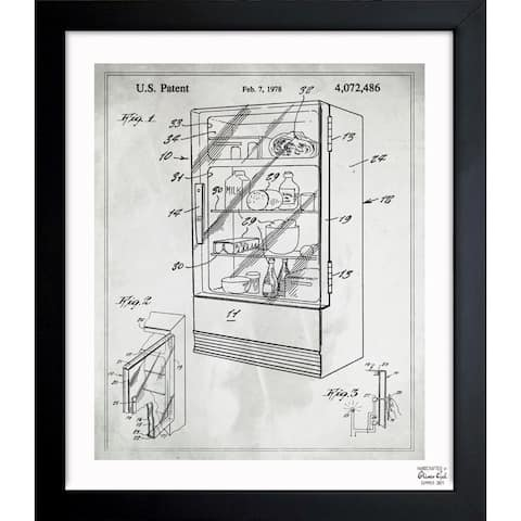 Oliver Gal 'Plexiglass Refrigerator 1978' Framed Blueprint Art