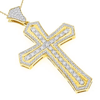 Luxurman 14k Gold Men's 2 3/4ct TDW Diamond Designer Cross Pendant