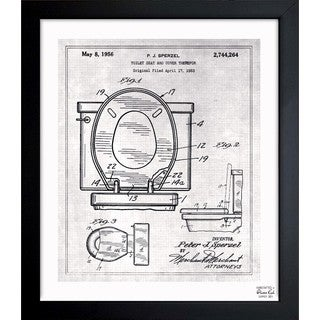 Oliver Gal 'Toilet Seat 1956' Framed Blueprint Art