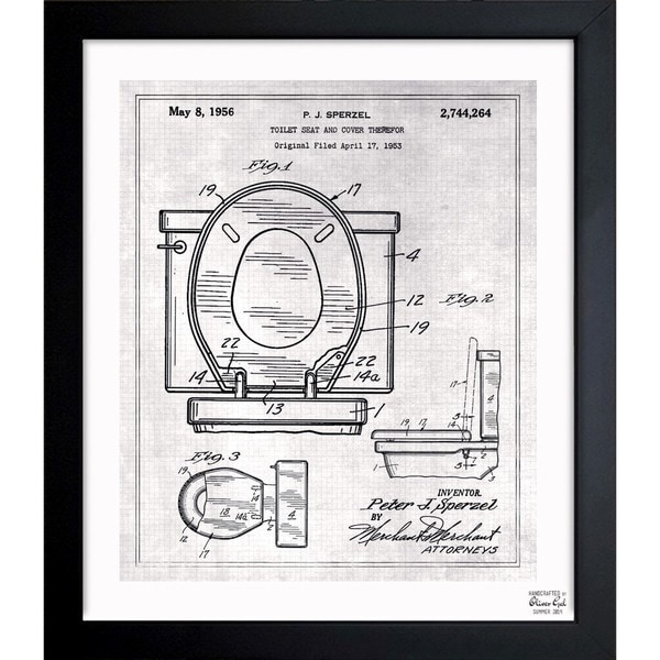 Oliver gal toilet seat 1956 framed blueprint art free shipping oliver gal x27toilet seat 1956x27 framed blueprint art malvernweather Image collections