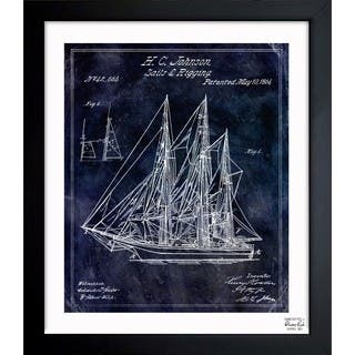Oliver Gal 'Sail And Rigging 1864' Framed Blueprint Art - Blue|https://ak1.ostkcdn.com/images/products/11534115/P18481173.jpg?impolicy=medium