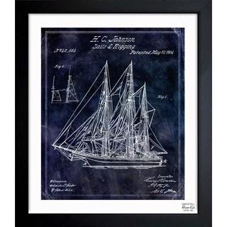 Oliver Gal 'Sail And Rigging 1864' Framed Blueprint Art - Blue