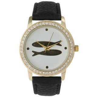 Olivia Pratt Women's Twin Fish Leather Rhinestone Watch