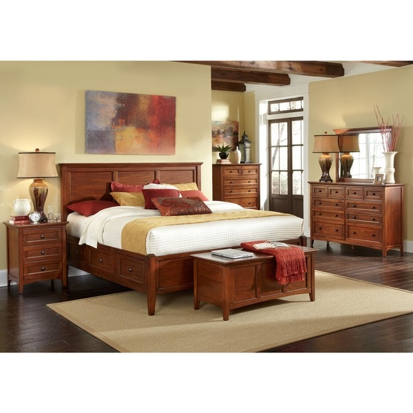 shop simply solid aiden solid wood 5 piece queen bedroom collection on sale free shipping. Black Bedroom Furniture Sets. Home Design Ideas