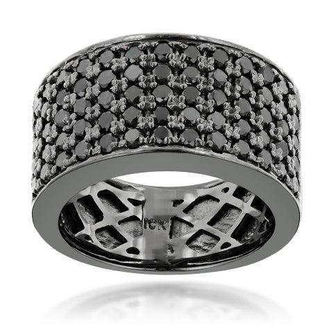 Luxurman Designer 10k Black Gold Men's 1 3/4ct TDW Black Diamond Wedding Ring