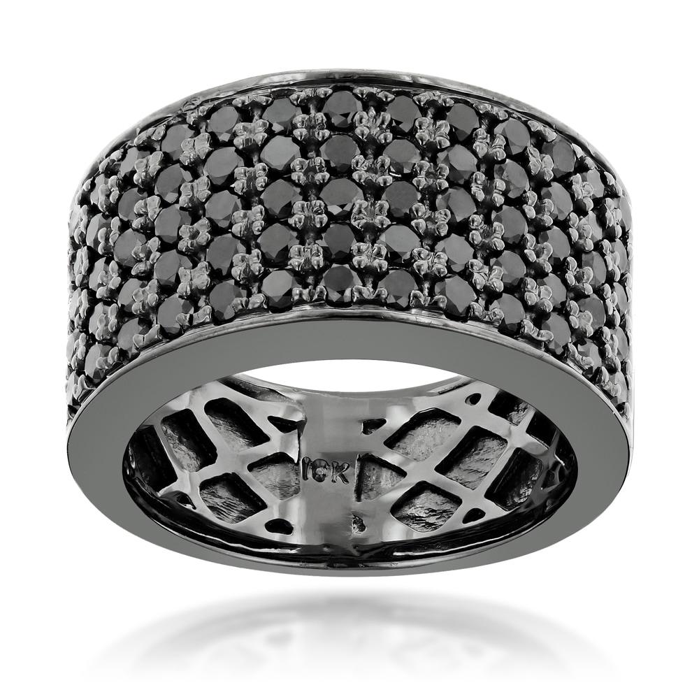 9mm Wedding Band 1 4 Ct Tw Black Diamonds Stainless Steel: Luxurman Designer 10k Black Gold Men's 1 3/4ct TDW Black