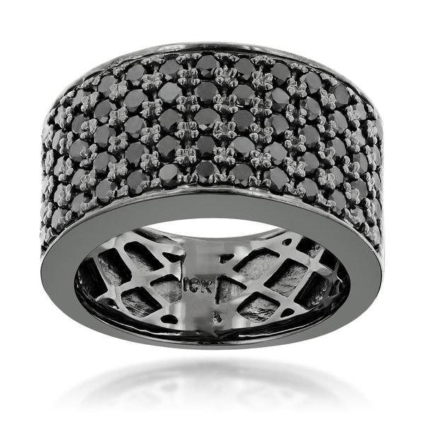 Black AAA Diamond Wedding Band Ring Men Jewelry 14K Yellow Gold Over